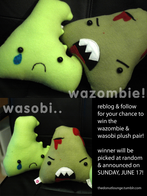 thedonutlounge :     reblog this & follow thedonutlounge.tumblr.com (unless you already do!) in order to be eligible to win these 2 plushies! the wazombie & wasobi duo have a love/hate relationship but only YOU can help keep the peace!   winner will be picked at random and announced on sunday, june 17 on tumblr.   thanks!  -thedonutlounge