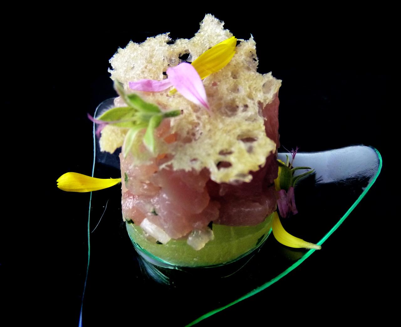OPAH FIVE WAYS: TRUFFLE OPAH TARTARE   compressed melons - filipino pink salt