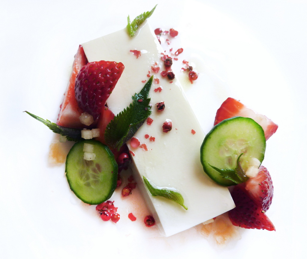 SILKEN TOFU PANNA COTTA   absolut elderflower syrup - strawberries - pink peppercorns    A good silken tofu can make a great, vegan panna cotta.