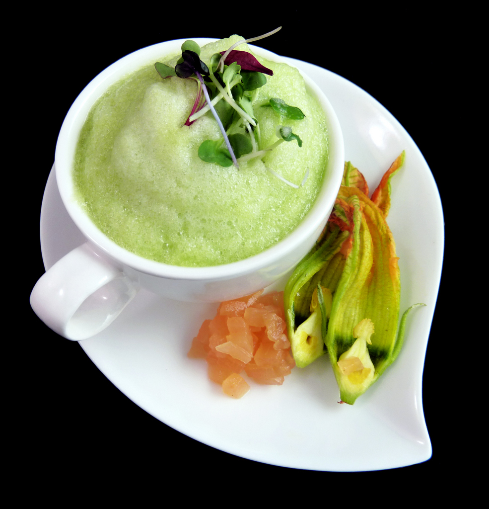 FROTHY MELON & CUCUMBER SOUP   compressed cantelope - squash blossoms
