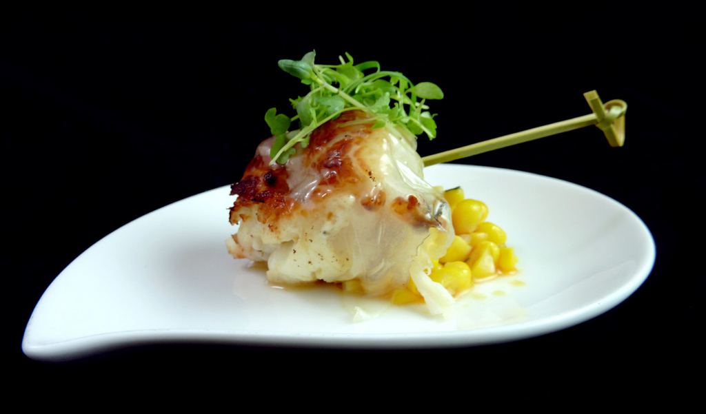 LARDO-WRAPPED LOBSTER   with truffled corn succotash