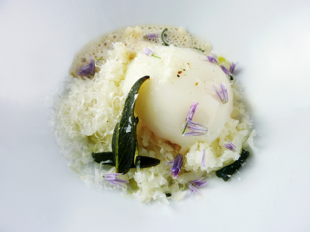 DECONSTRUCTED GNOCCHI   riced potatoes - beurre noisette foam - fried sage