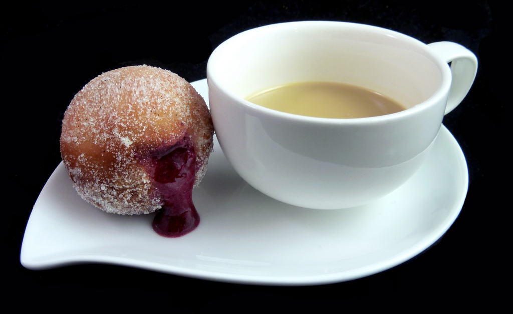 BLUEBERRY BOMBOLINI   with white chocolate & chicory latte    From our Pastry Chef Jenna L.