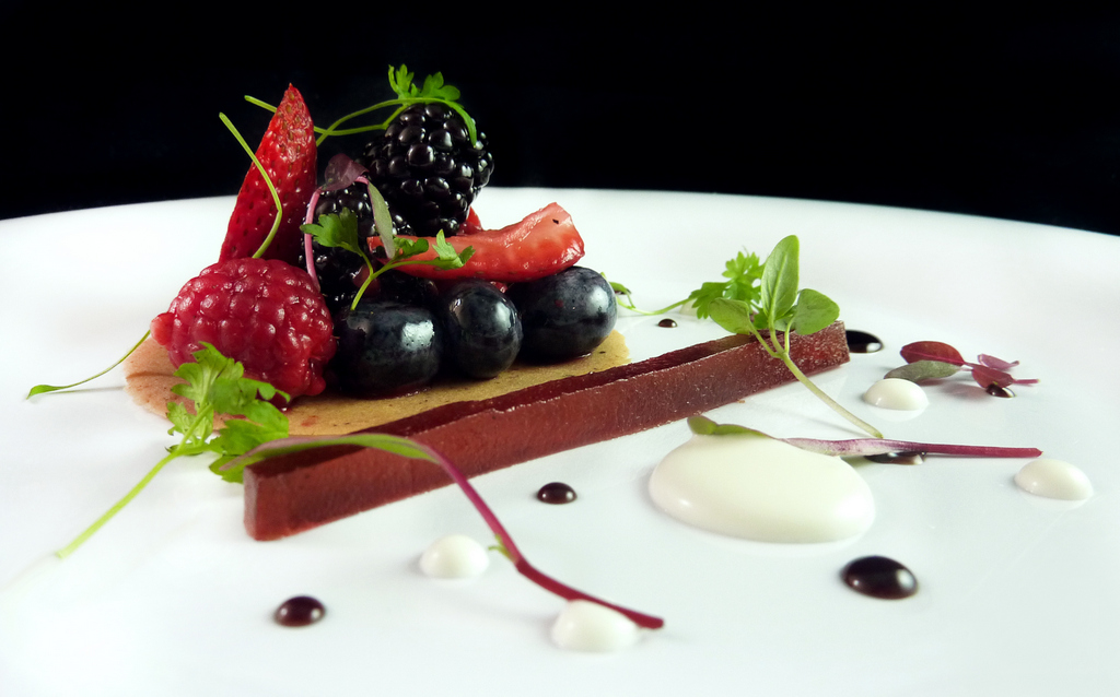 BALSAMIC-MARINATED BERRIES   black pepper tuille - saba - balsamic fruit roll up - rosemary creme fraiche