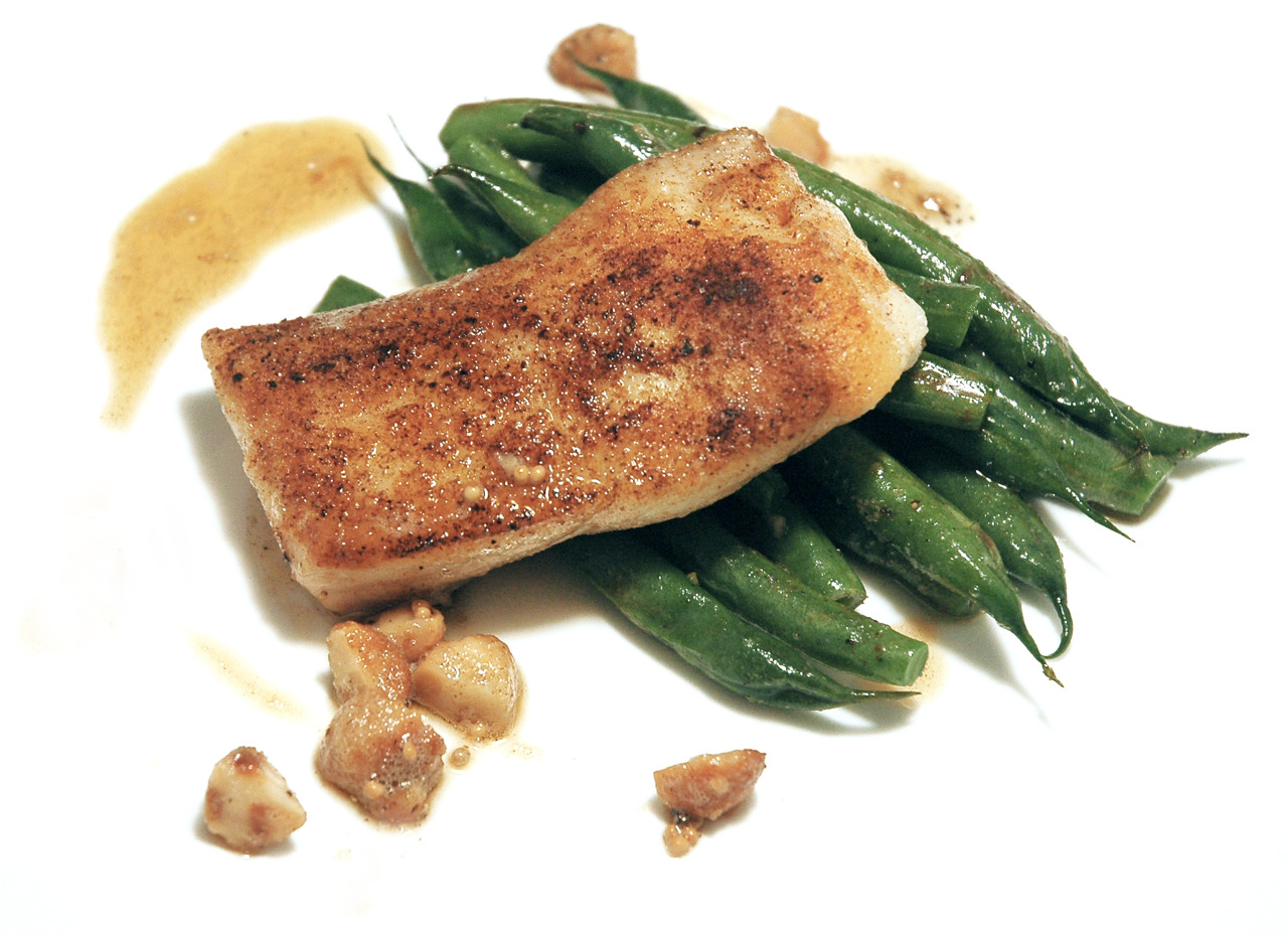CURRY-SPICED HALIBUT   macademia brown butter - minted haricort vert