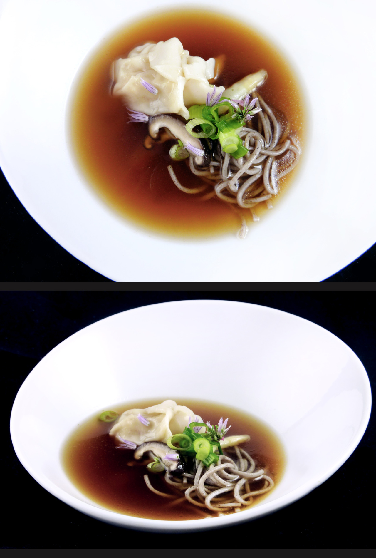 SOBA & DASHI CONSOMME   shrimp dumpling - white asparagus - shiitake mushrooms     The consomme is a fish fume of sea bass bones fortified with soy, white soy, kombu, and dashi.