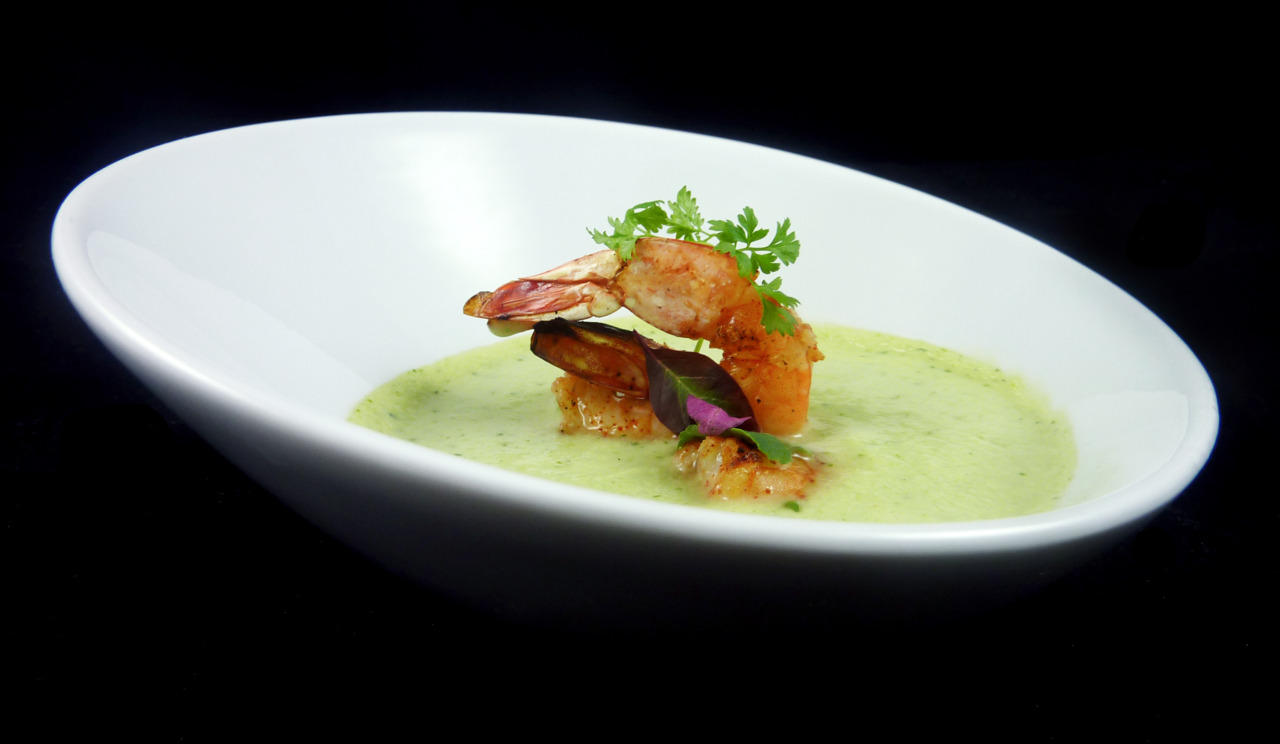 AVOCADO GAZPACHO & SPICED PRAWNS   cucumbers - olive oil - chervil
