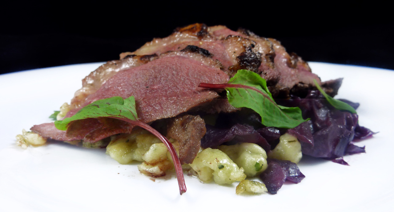 DUCK BREAST   house-made tarragon spaetzle - braised cabbage    Straight-forward. Delicious. It's like duck-flavored steak.