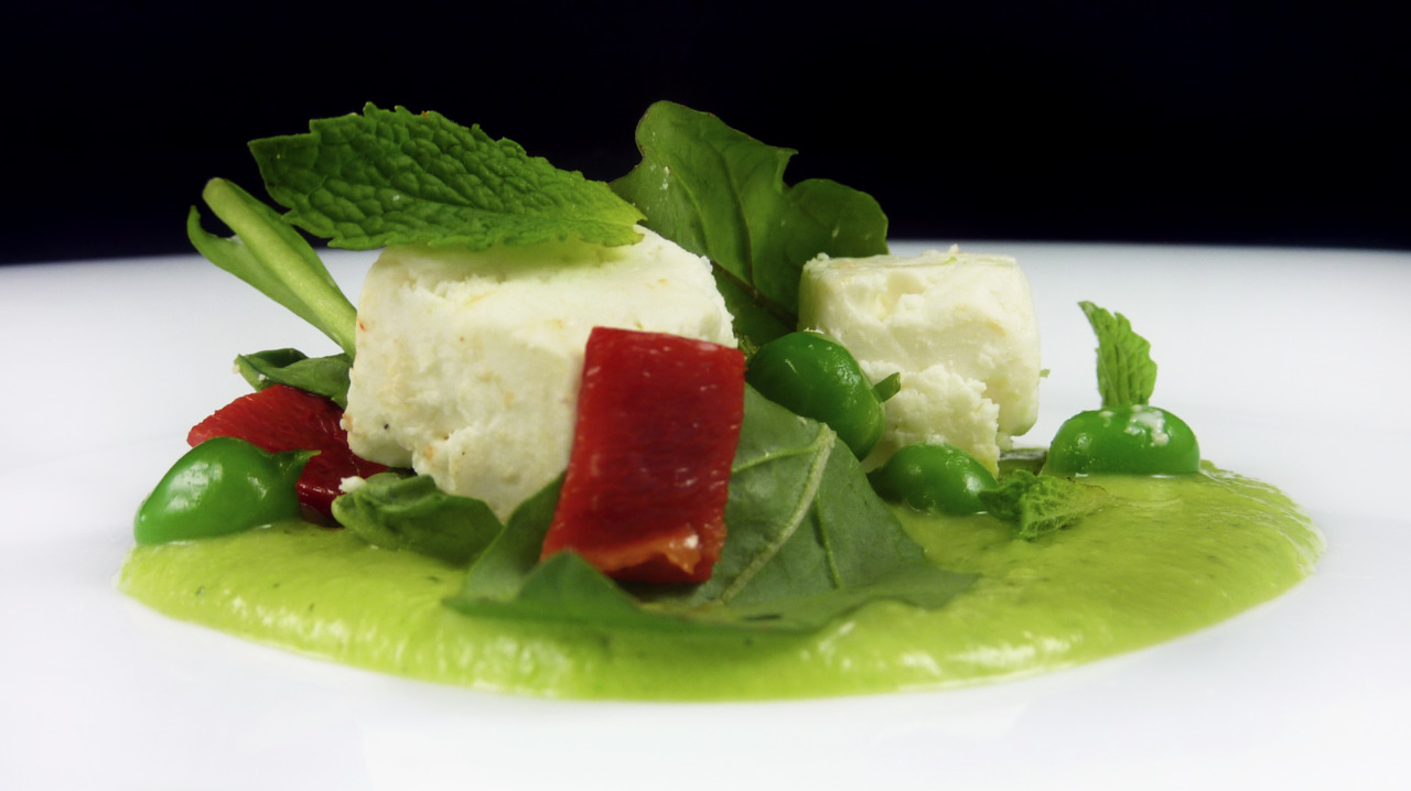 ENGLISH PEAS & SHEEP'S MILK FETA   pea tendrils - mint - piquillo peppers