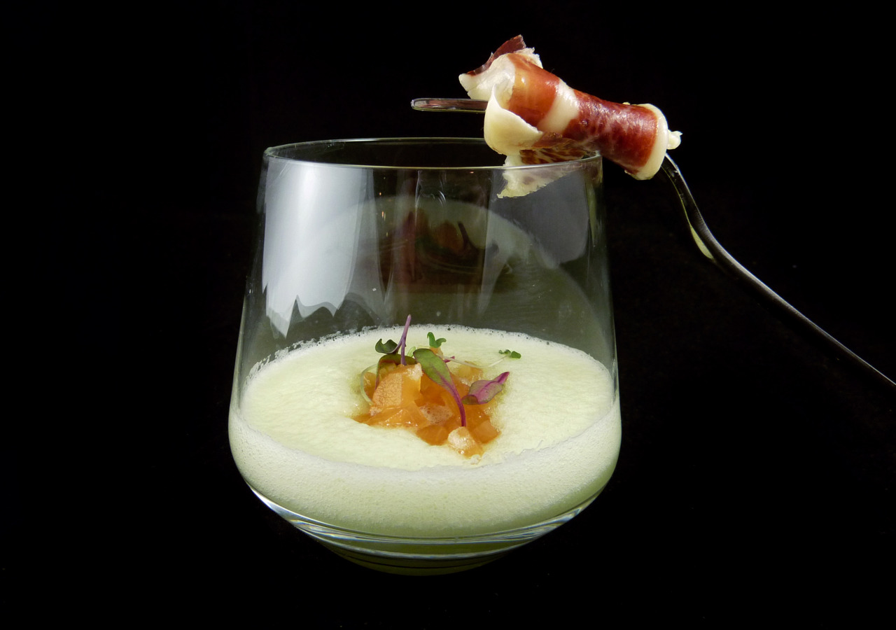 MELON & CHAMPAGNE GAZPACHO   compressed canteloupe - jamon iberico     A soup version of the classic proscuitto and melon.