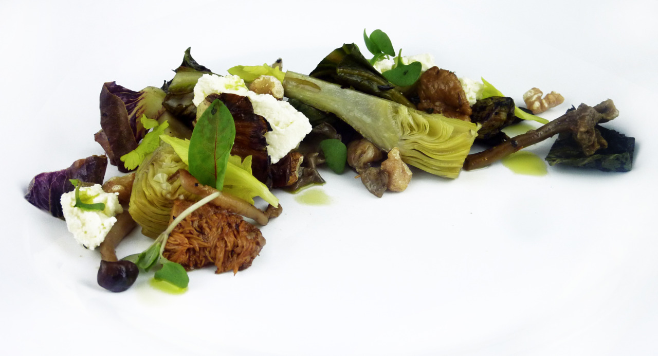 GRILLED TREVISO & WILD MUSHROOM SALAD   olive oil poached artichokes - fromage blanc - walnuts