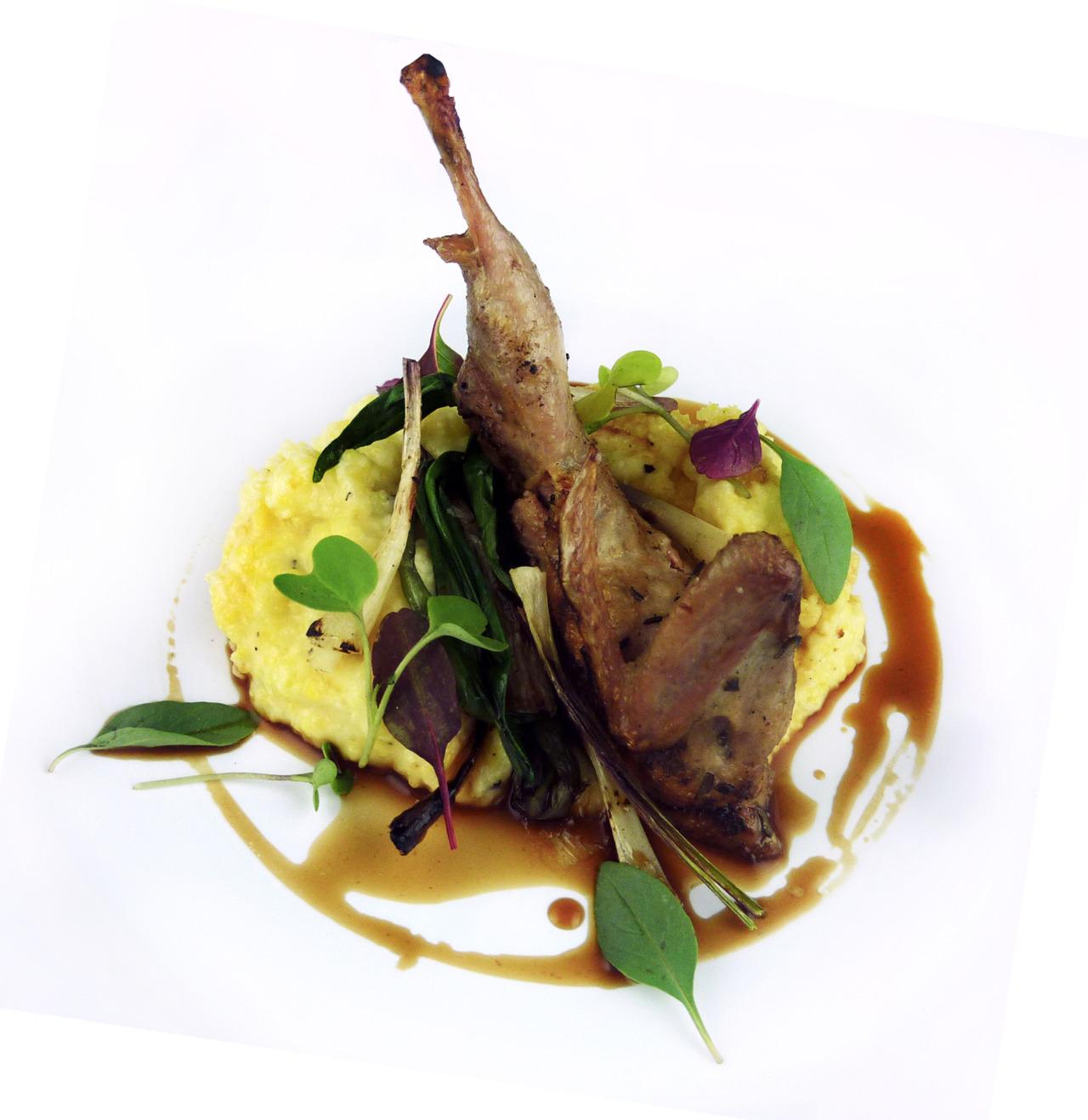 GRILLED PETALUMA QUAIL   lamb chopper polenta - ramps - quail jus