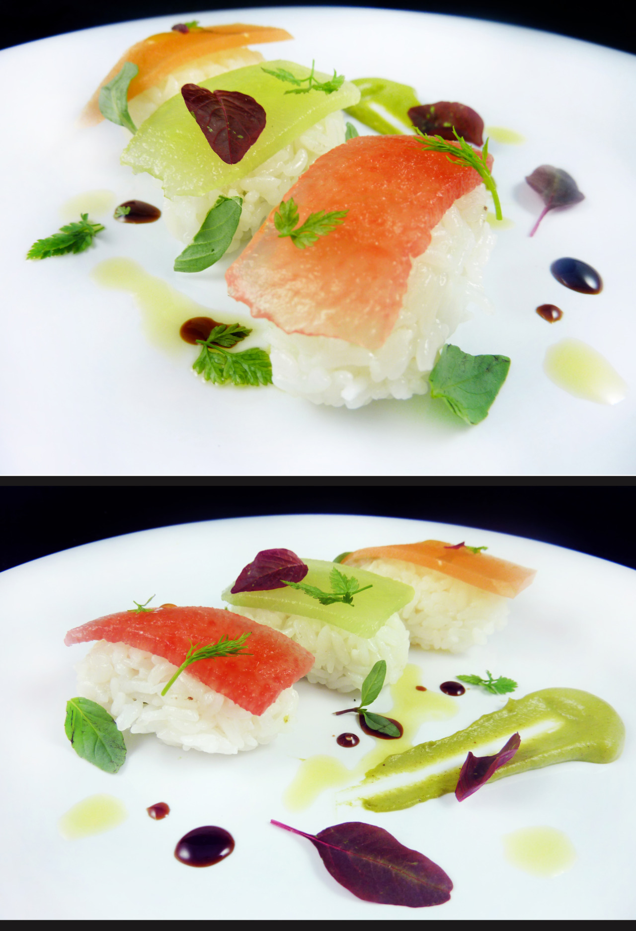 COMPRESSED MELON NIGIRI   honeydew - watermelon - canteloupe - pistachio fluid gel - saba - vanilla olive oil