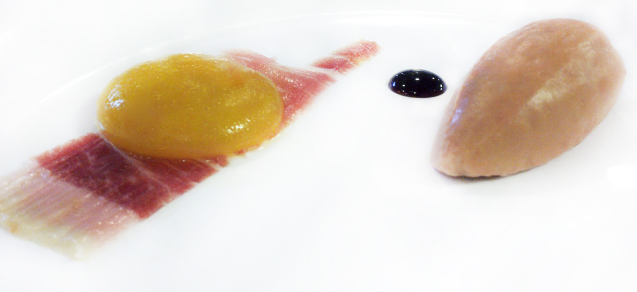 foie gras & jamon iberico   with saba & faux yolk     Sometimes you don't need fancy garnishes; when you just have perfect shapes on a plate, they stand strong all on their own.