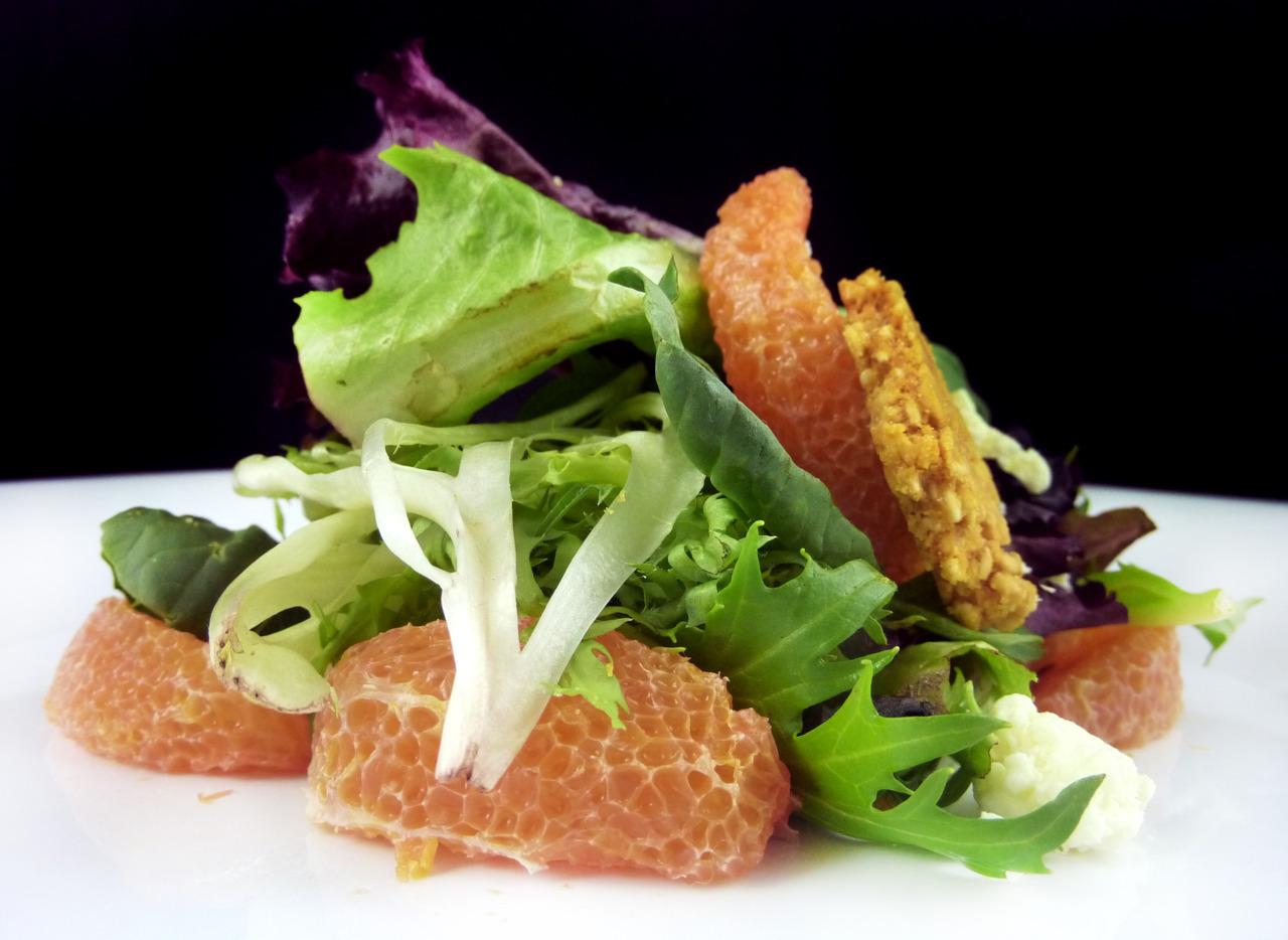 minneola citrus & happy boy mixed greens   with sesame brittle, fromage blanc, & citrus vinaigrette