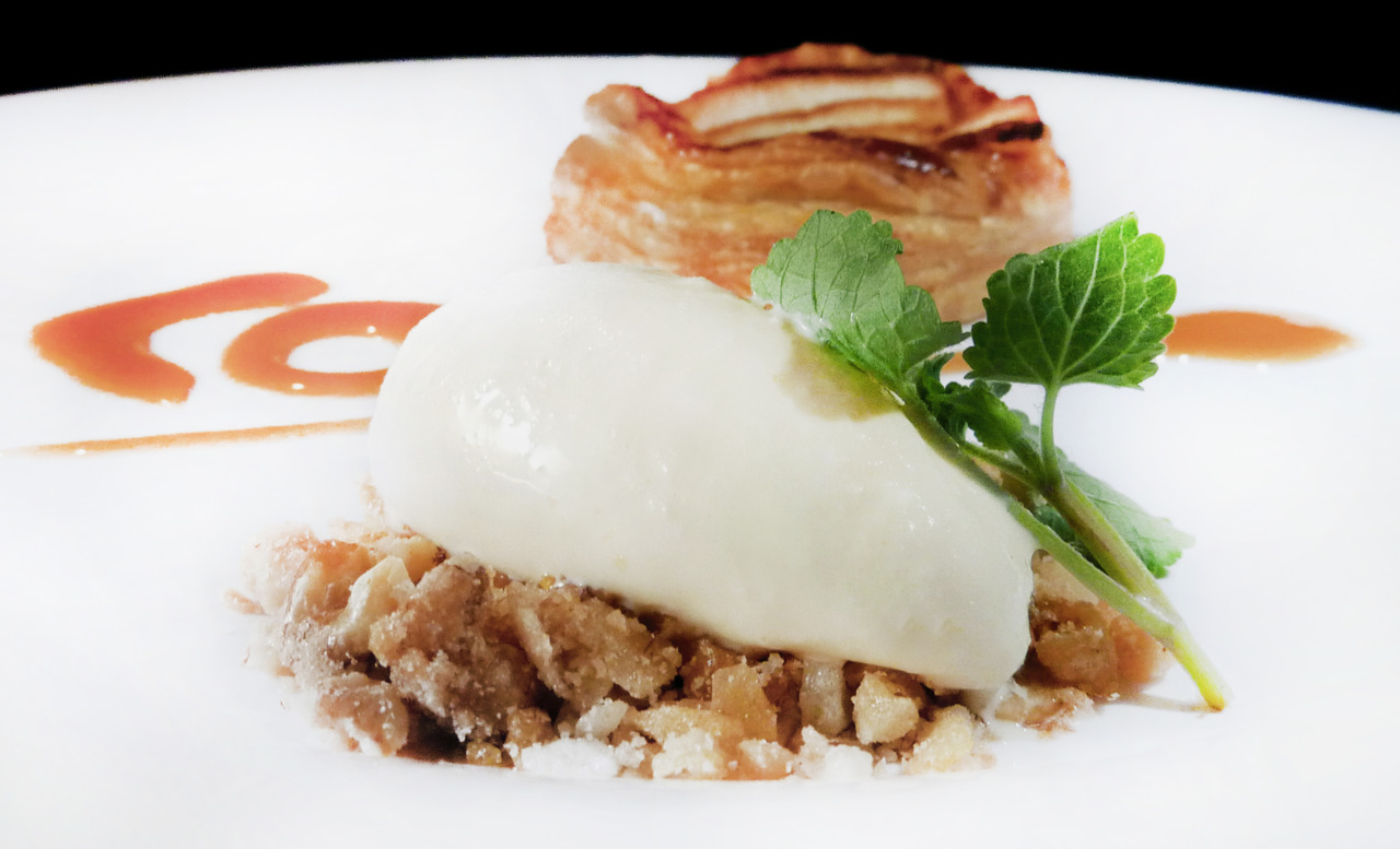 apple tartlette   with creme fraiche ice cream    Apples again?? Yeah…aside from citrus, it's the only fruit in season that we can get locally, plus we've been on some kind of apple pie kick lately. Notice the Palantir logo on the plate! A cheesy, but fun gesture.