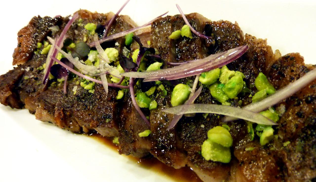 kobe steak & kasugai wasabi peas   with dashi demi & pickled onions