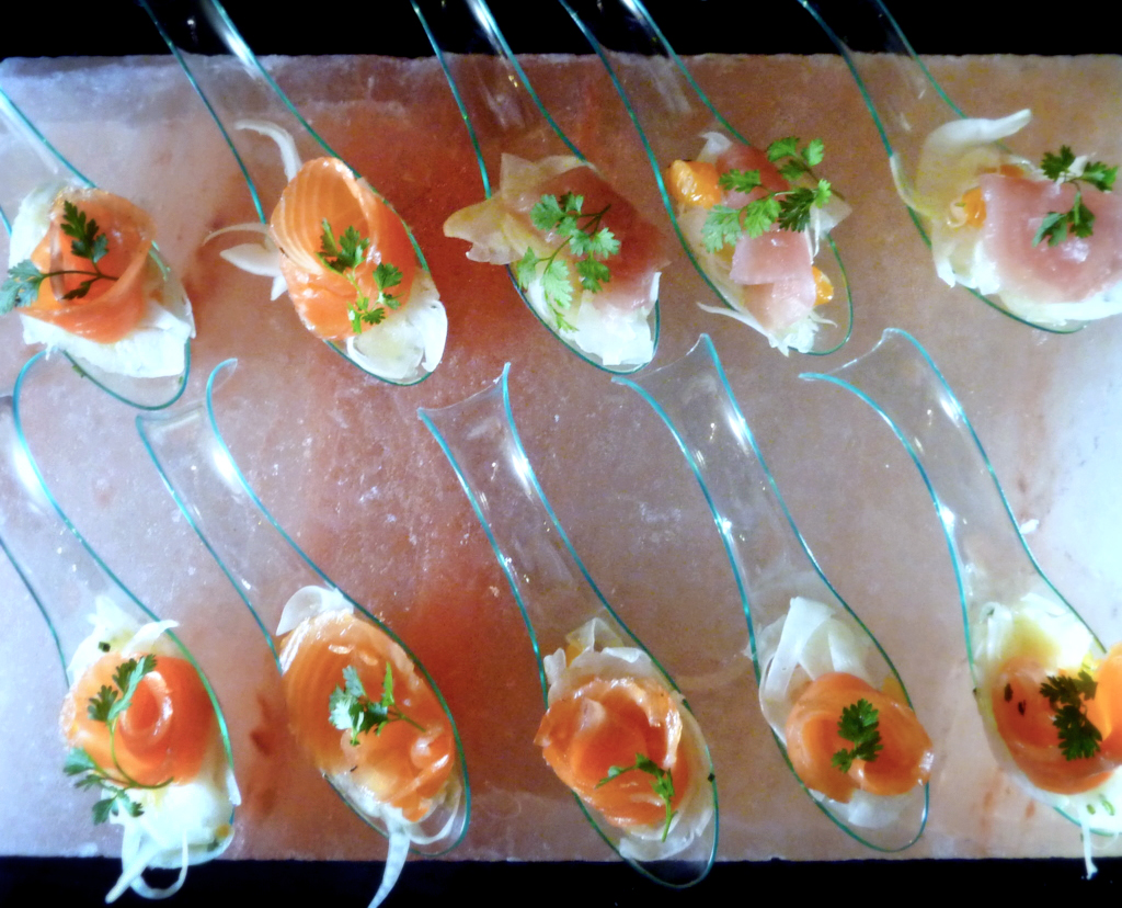 cured arctic char   with shaved fennels, citrus, & chervil    Had some arctic char left over so I made gravlax out of it. It's easy:   1 filet arctic char or salmon 1 part brown sugar 2 parts kosher salt 1 bunch rough chopped dill 1 tsp cracked coriander seed 2 lemons, zested 2 tbl pernod  Mix all ingredients except for the filet and pernod. Brush the filet with pernod and densely pack with the salt mixture. Wrap the filet in a cheese cloth and then place it on a long plate turned upside-down. Place the plate on a sheet pan and wrap the sheet pan with plastic wrap. This allows the fish to drain as it purges and the plastic wrap keeps everything from drying out.   A good vegan substitute is thinly sliced chiogga beets. You can see it in the photo above, pictured on the top right.   (@palantir)