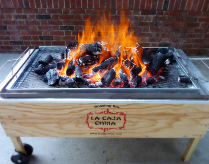 la caja china   pig box for kalua pork    This is a pretty nifty piece of cooking equipment built to cook pigs up to as large as 70 lbs. And it does it fast, anywhere from 1.5 to 2 hrs. It's also pretty cheap at around $300, but that also speaks of the quality. After a few uses, almost every piece of it was either warped or loose. It roasts one hell of a pig though.