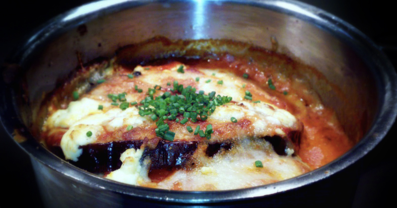 petite-eggplant parmigiana brulee   with smoked tomato coulis     A great, healthy alternative to the deep-fried Italian  staple.   (@google)