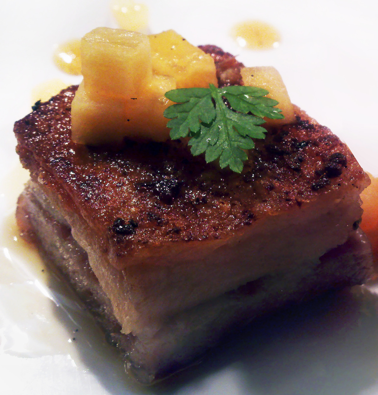 pressed pork belly   with peach brunoise & vanilla gastrique     My favorite cut of meat.   (@google)