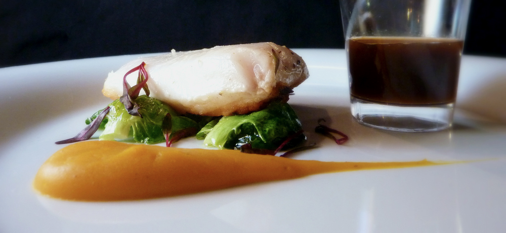 sous-vide california halibut   with butternut squash puree, brussel leaves, bull's blood, lobster demi       I kept this dish simple, but it turned out to be really good.    @palantir