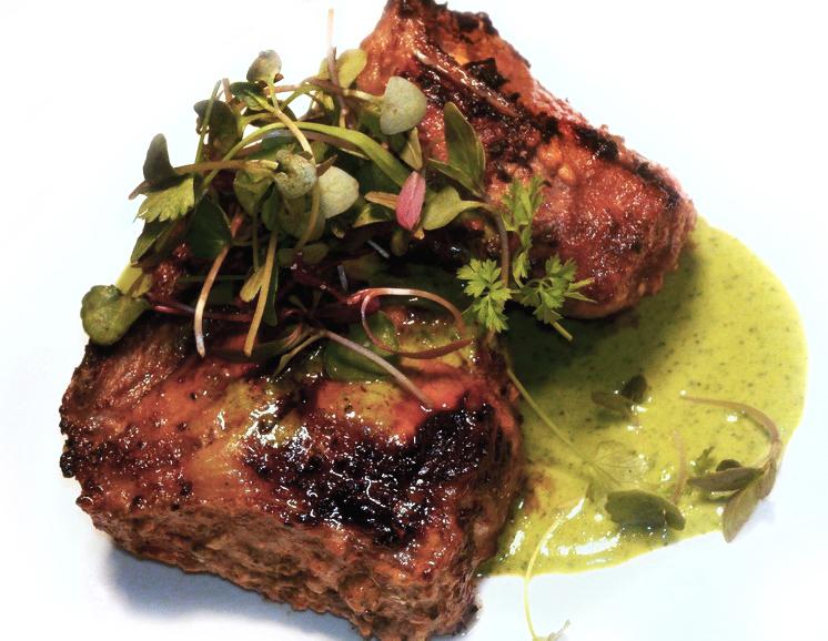 grilled lamb chops   with mint vinaigrette & micro-herb salad  @google