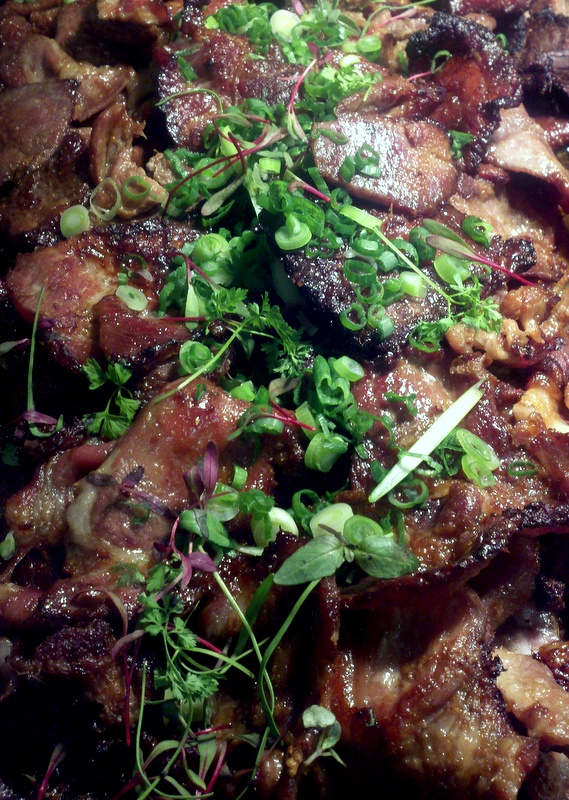 "@google     ""Thit Heo Nuong"" Vietnamese Barbecue Pork    The marinade : fish sauce, soy sauce, palm sugar, 7-up, pear puree, scallions, garlic, onions, lemongrass, thai chilies.   The trick is in the pear puree which contains an enzyme that tenderizes the lean pork. I borrowed this technique from the traditional Korean barbecue marinades."