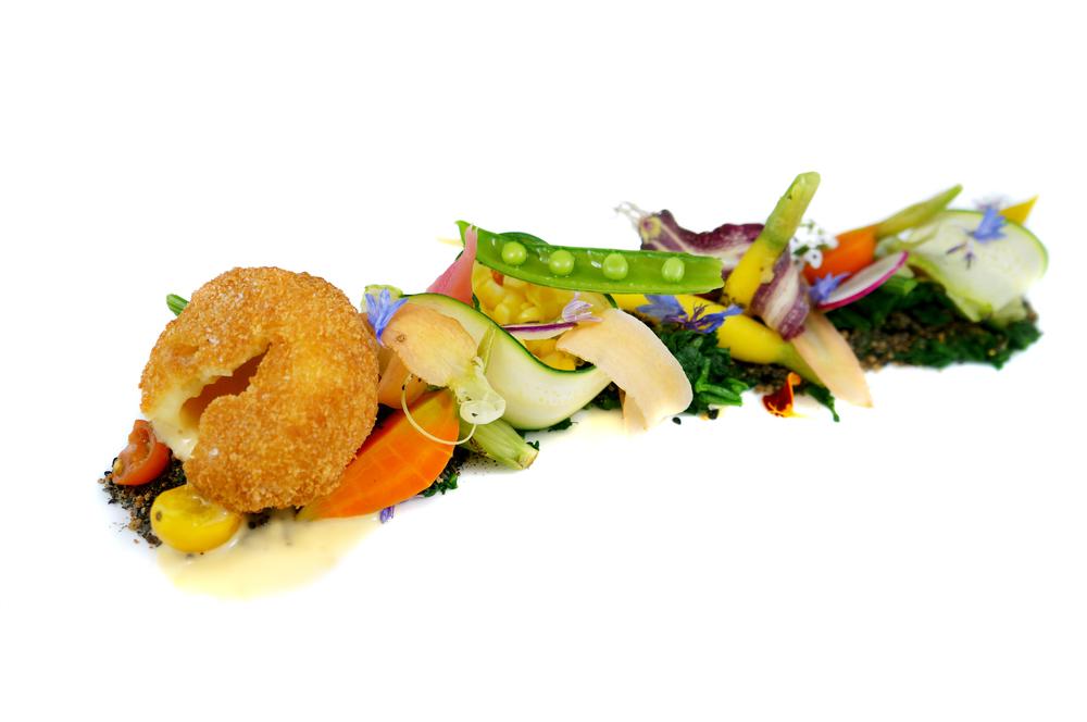 edible garden   seasonal vegetables - edible soil - spinach moss - truffled egg cromesque - vegetable jus vinaigrette