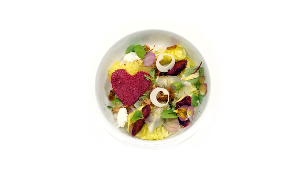 i♥ salad |   cranberry dusted rhutabaga - hearts of palm - artichoke hearts - lettuce hearts - hearts on fire