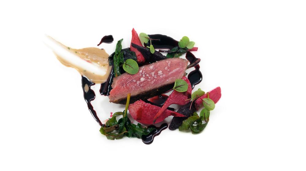 red |   truegrass ribe-eye - beet demi - cabernaise - caramelized beets - beet greens