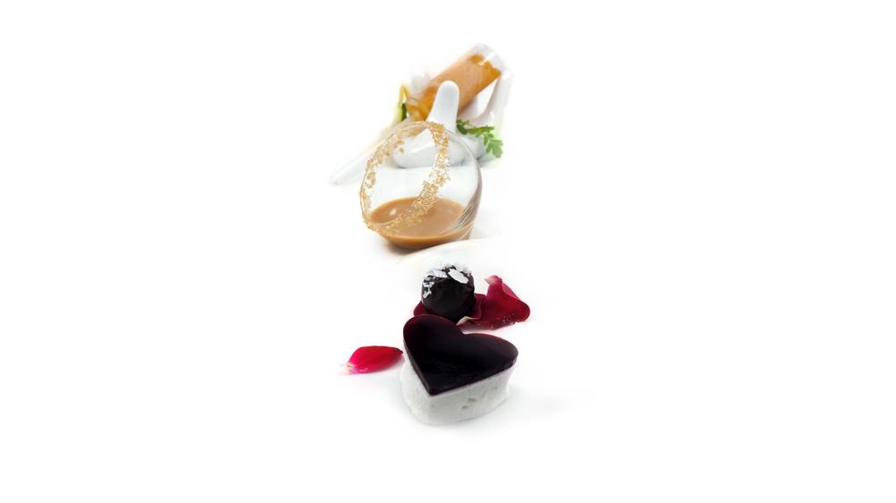 heart's desire |   elderflower marshmallow - melted salted caramel - passion fruit habanero push pop - satsuma coconut truffle