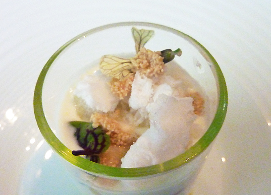 white asparagus parfait  |  yogurt - arugula flowers - avocado