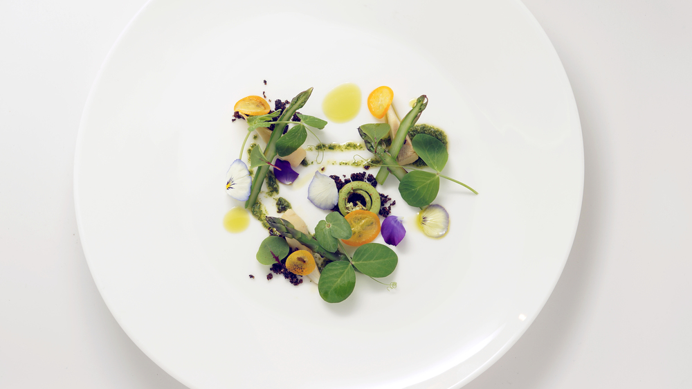 a taste of spring |   compressed kumquats, tendrils, & flowers from our garden  -  edible soil  -  stinging nettle puree