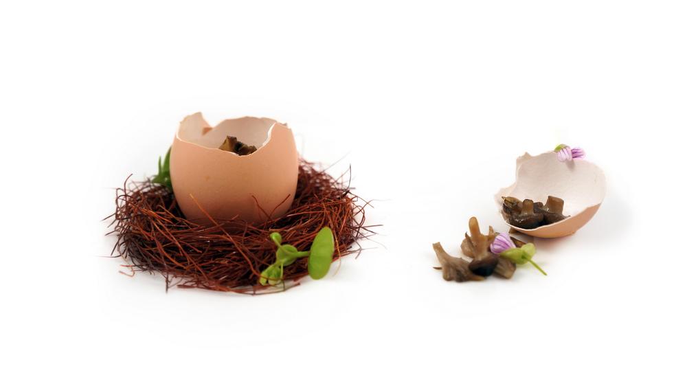 soondubu jjigae |   guaniciale & korean chili stew - quail egg - beech mushrooms - cubed guaniciale fat