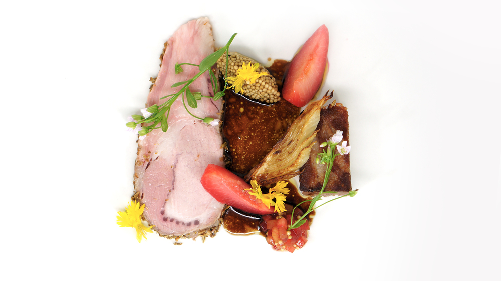 2014 - circle o pork two ways, pluots, mustard caviar, stone fruit mustarda.jpg
