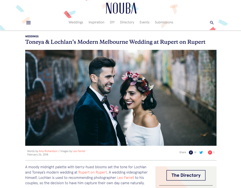 I am delighted to have Toneya & Lochlan's wedding featured today on the wonderful wedding blog,  Nouba . I met Loch and Toneya a few years ago on a wedding in the Victorian high country that I was documenting, and he was videoing. I liked the way we seamlessly worked together, and the results we both achieved from the wedding for our clients, and have been recommending him and his business,  Tango Films  ever since.   Fast forward to Loch and Toneya planning their own wedding, and then asking me to be their photographer. It is always a privilege when couples ask me to document their day, but even more so when the couple are close friends and two of the kindest people you could meet. Thanks again Loch and Toneya for trusting me with documenting such an important day in your relationship and lives.  You can view the feature on Nouba,  here  :  Here are some of the key suppliers from the day: Toneya's Dress  Rachel Gilbert   Celebrant:  Russ Macumber   Venue:  Rupert on Rupert   Hair & Makeup:  Zuri   Bridesmaid's Dress:  Nookie   Florist:  Grown Florist   DJ:  Cherry Love   Lochlan's Suit:  Politix