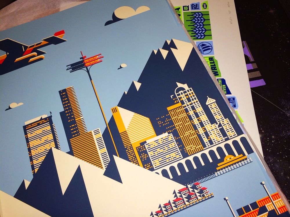 Come and get it. Artwork by Rick Murphy, Aaron Draplin, and Aaron Bloom will be on display at the silent auction.