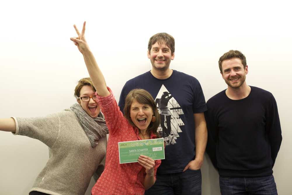 Sarita with her $1500 award and the Pour Back judges: Izzie Zahorian, Aaron Shurts, and David Wykes