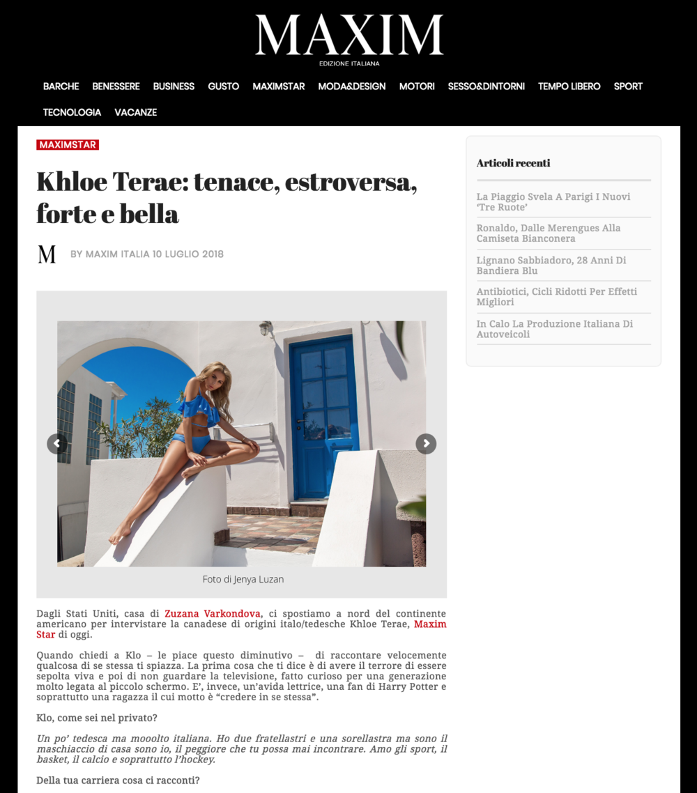 Maxim Italia with Khloe Terae by Jenya Luzan of Tropic Pic | Booked by Nova Prime PR