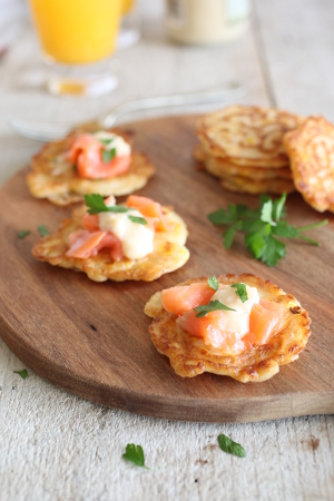 Corn-fritters with Salmon