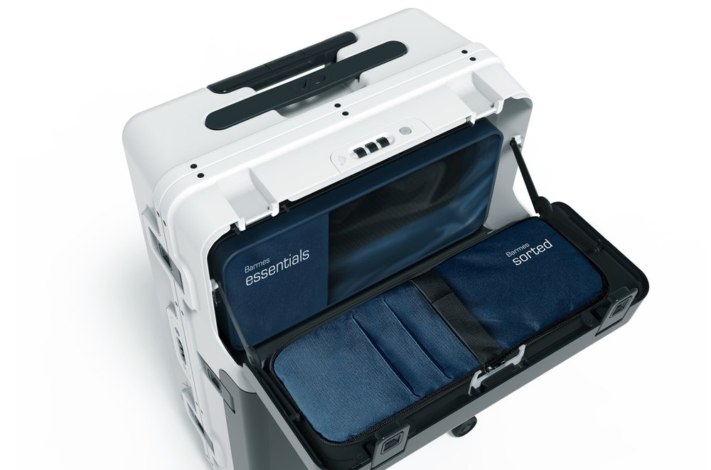 Top Compartment - This compartment hinges down and stops at 90 degrees. This allows you to insert or extract items, with quick and easy access.Sorted and Essentials bags provide mobile organisation.  On a plane, this compartment allows you lift up and extract or insert items quickly and easily, without removing freebase from the overhead locker.