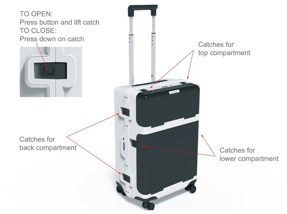 Opening and Closing Catches  - Each compartment is secured with 2 catches. TO OPEN: Press release button and lift the catchTO CLOSE: Press down on the catch