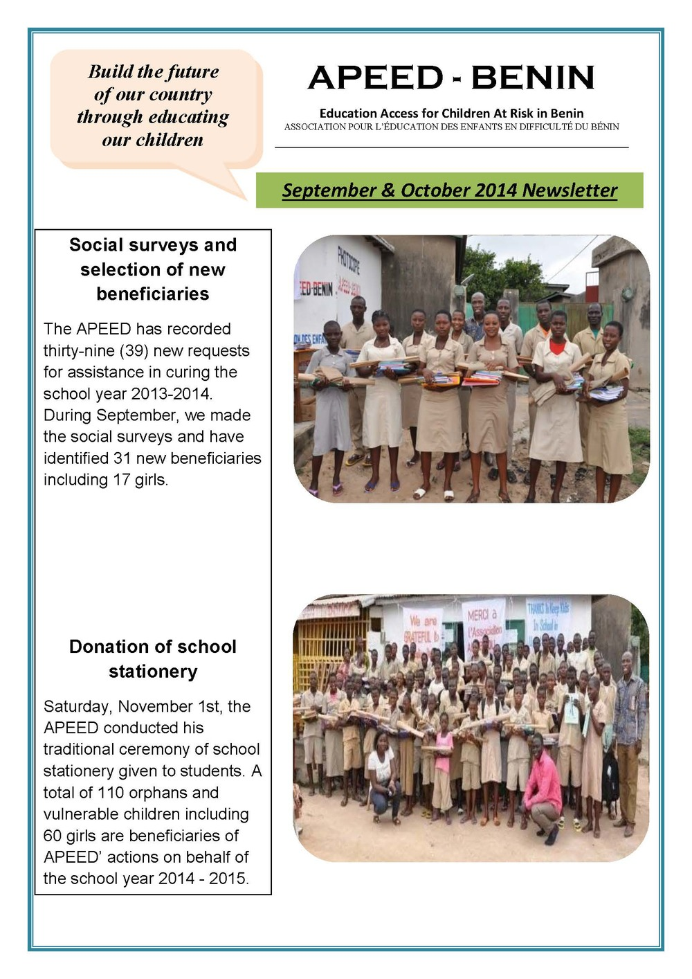 APEED-BENIN September - October Newsletter