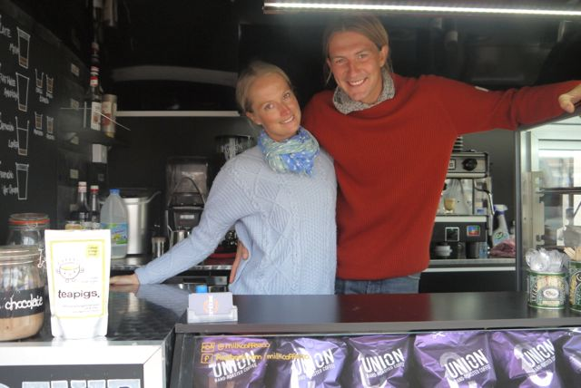 Danielle and Ben inside their mobile café