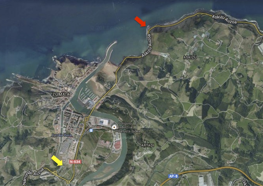The red arrow shows the spot where we originally broke down and the yellow arrow the café where we eventually stopped for the night