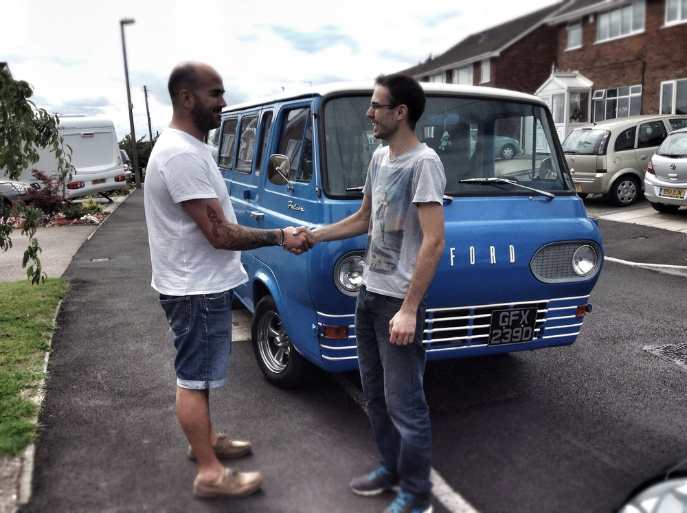 Carlos with former owner Matt, the day we picked up the van