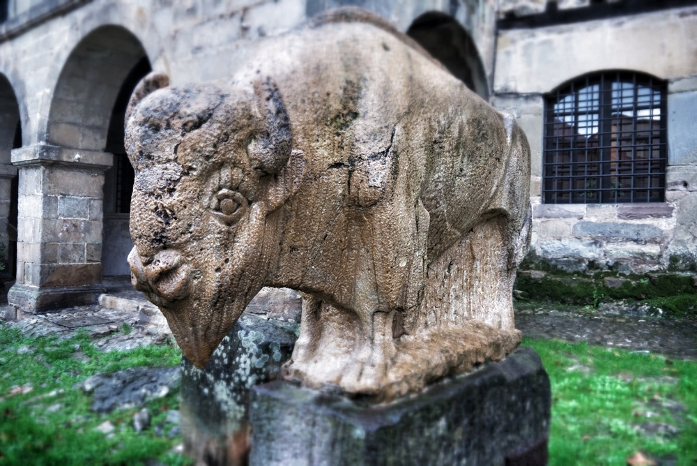 A sculpture of the bison that oncedominated the area and are depicted in the cave paintings