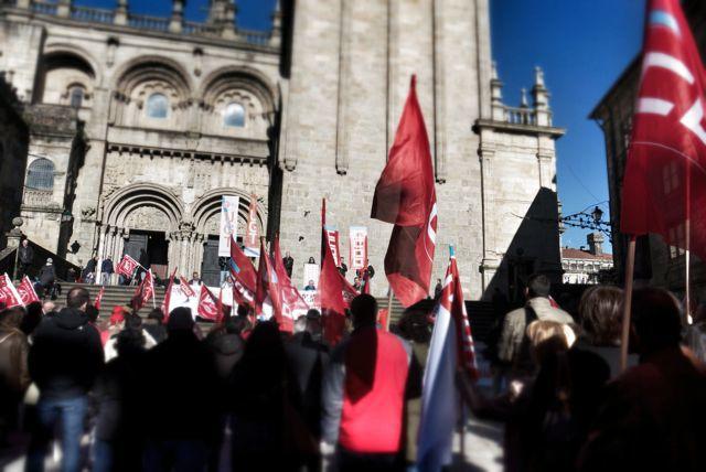 Political demonstration outside Santiago Cathedral