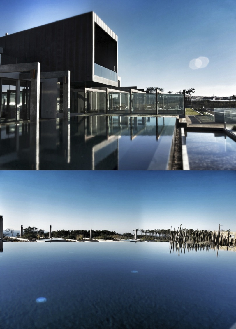 The hotel exterior and infinity pool